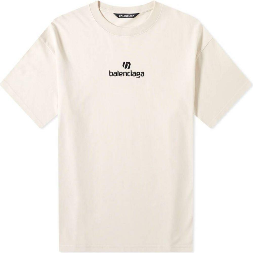 バレンシアガ Balenciaga メンズ Tシャツ ロゴTシャツ トップス【New Logo Tee】Chalky White/Black