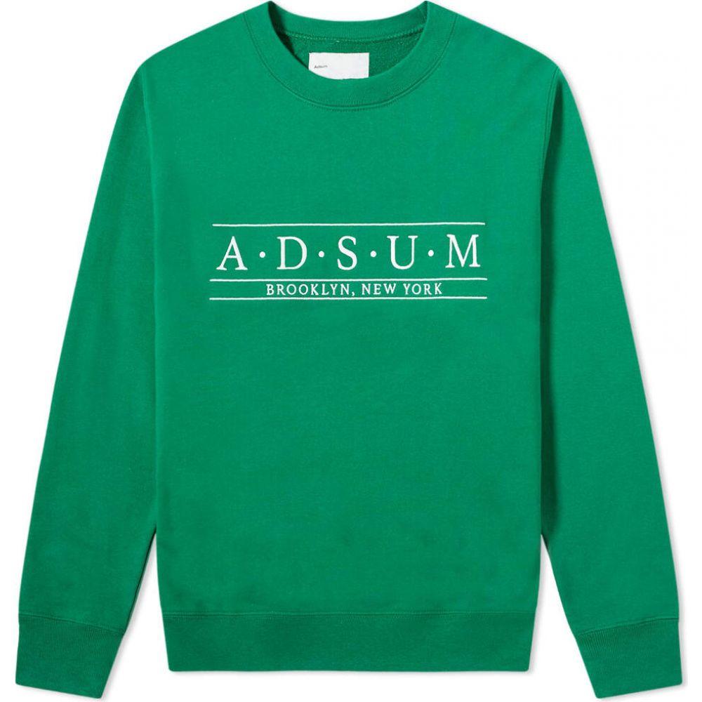 アドサム Adsum メンズ スウェット・トレーナー トップス【Baskerville Embroidered Crew Sweat】Evergreen