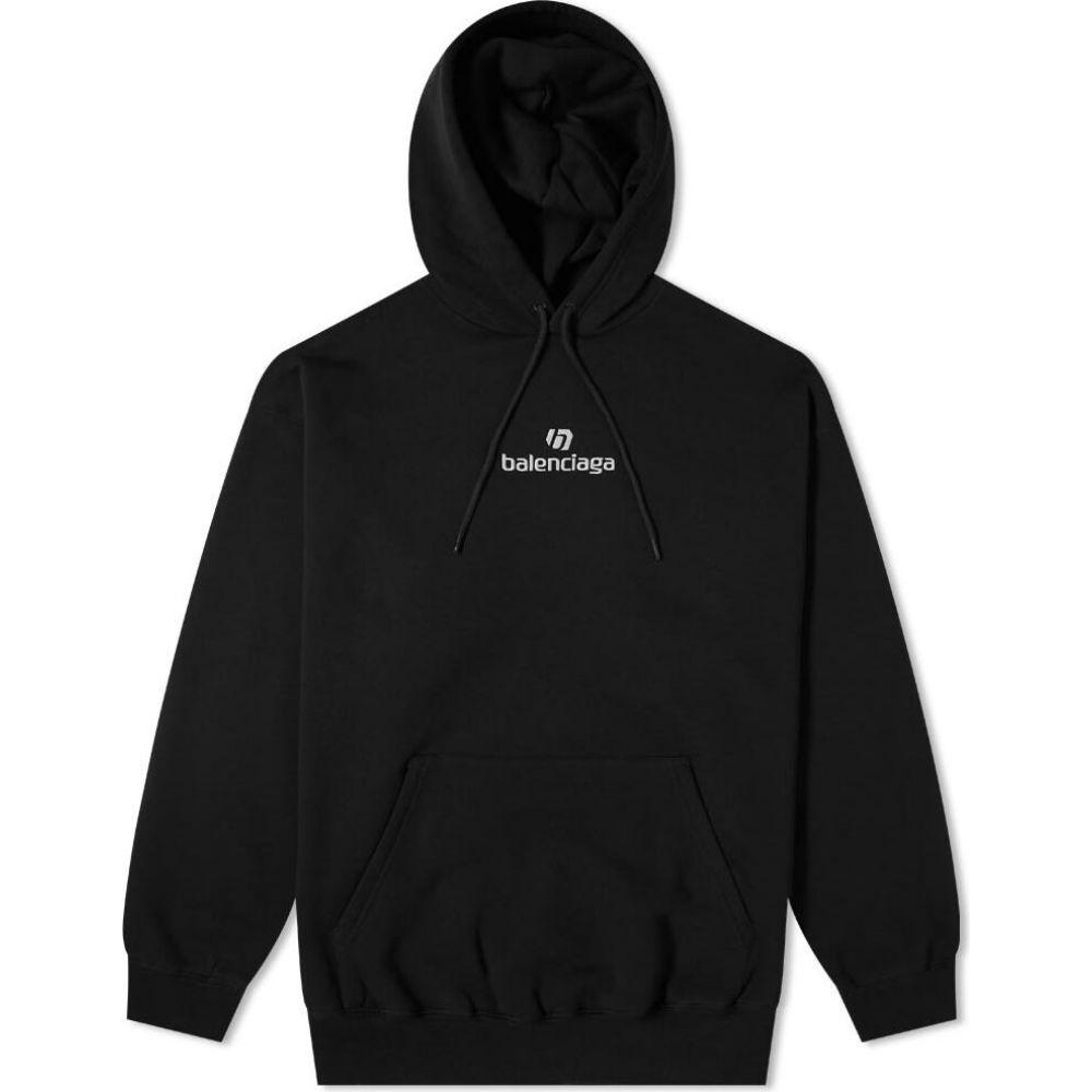 超特価SALE開催 バレンシアガ メンズ トップス パーカー Black Chalky White Hoody 2020秋冬新作 New サイズ交換無料 Popover Logo Balenciaga