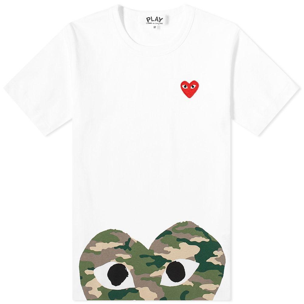 コム デ ギャルソン Comme des Garcons Play レディース Tシャツ トップス【hem print heart tee】White/Camo