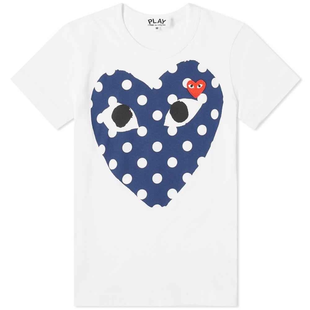 コム デ ギャルソン Comme des Garcons Play レディース Tシャツ トップス【polka dot heart tee】White/Navy