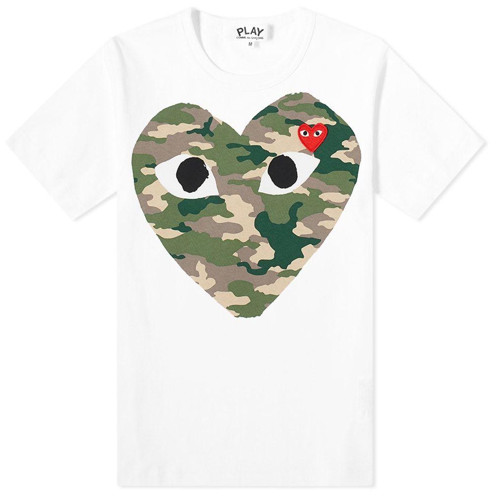 コム デ ギャルソン Comme des Garcons Play レディース Tシャツ トップス【heart tee】White/Camo