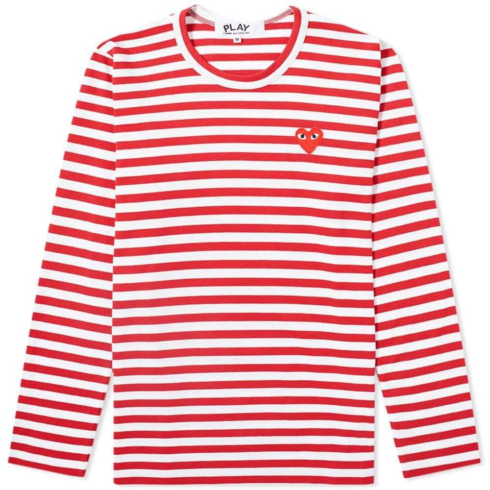 コム デ ギャルソン Comme des Garcons Play レディース 長袖Tシャツ ロゴTシャツ トップス【long sleeve heart logo stripe tee】Red/White