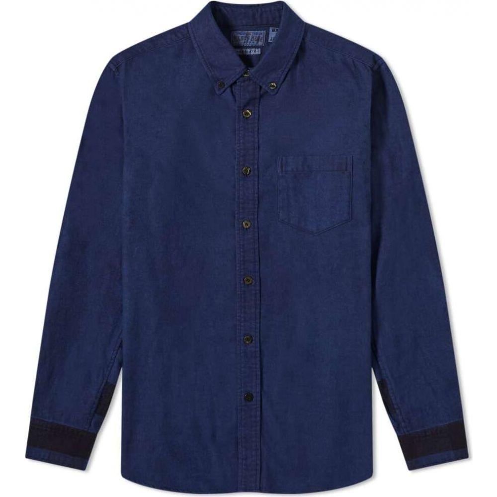 ブルーブルージャパン Blue Blue Japan メンズ シャツ フランネルシャツ トップス【hand dyed flannel check panel shirt】Indigo