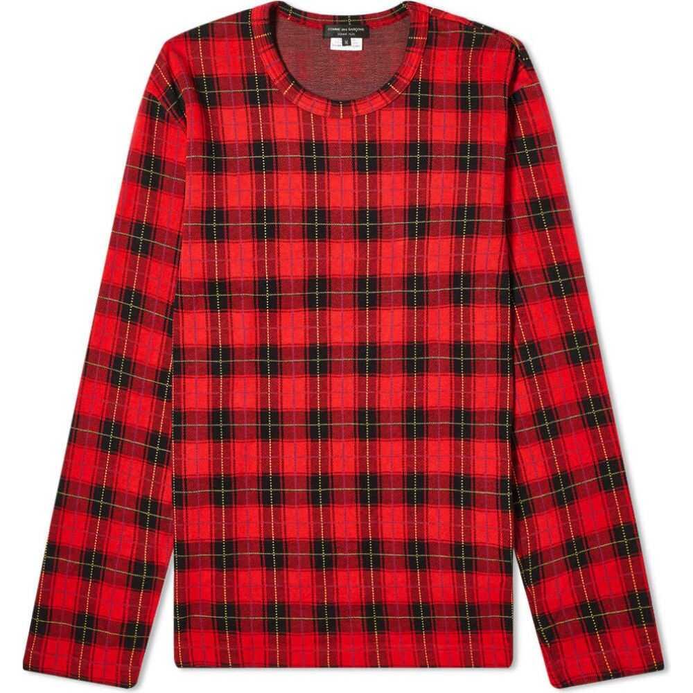 コム デ ギャルソン Comme des Garcons Homme Plus メンズ 長袖Tシャツ トップス【long sleeve tartan tee】Red