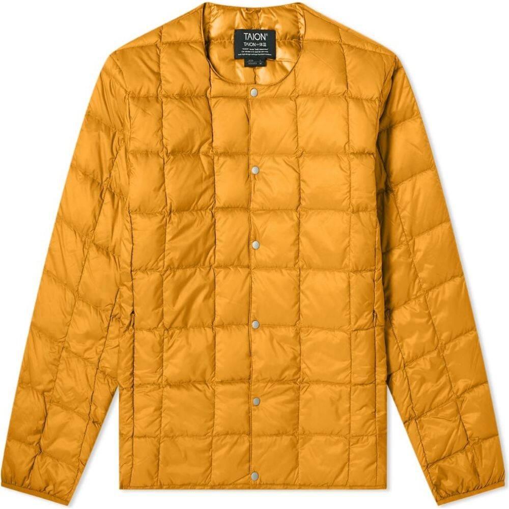 タイオン メンズ アウター ダウン 中綿ジャケット Dark Orange サイズ交換無料 neck jacket Taion down 人気の製品 定番の人気シリーズPOINT(ポイント)入荷 crew