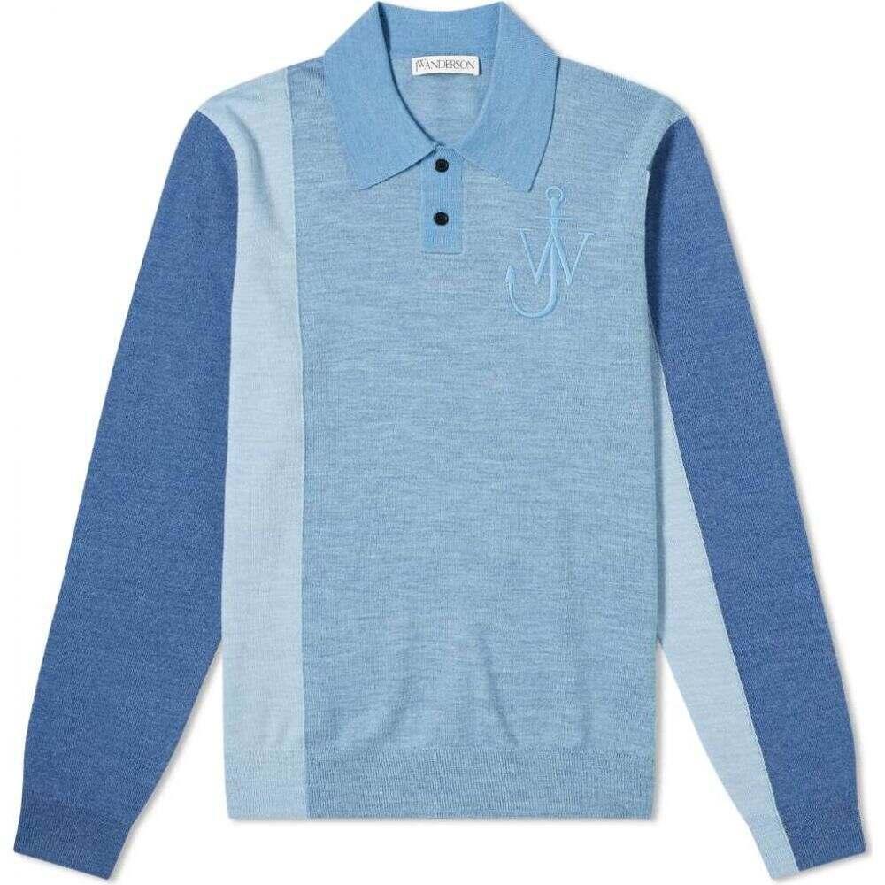 J.W.アンダーソン 公式ショップ メンズ トップス ポロシャツ Navy Multi Colourblock Polo Anderson Knit 送料0円 サイズ交換無料 JW