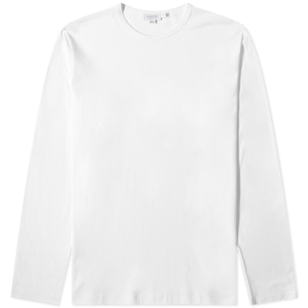 サンスペル Sunspel メンズ 長袖Tシャツ トップス【long sleeve crew neck tee】White