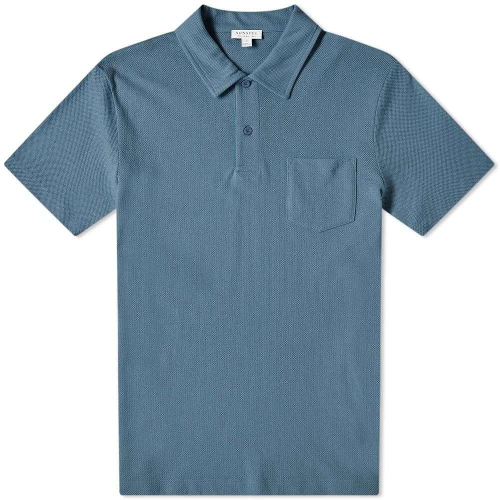 サンスペル Sunspel メンズ ポロシャツ トップス【riviera polo】Cerulean Blue