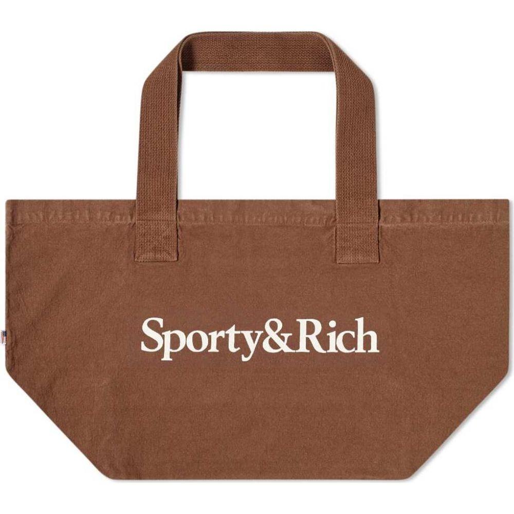 スポーティ アンド リッチ Sporty & Rich メンズ トートバッグ バッグ【Serif Logo Tote Bag】Chocolate/Cream