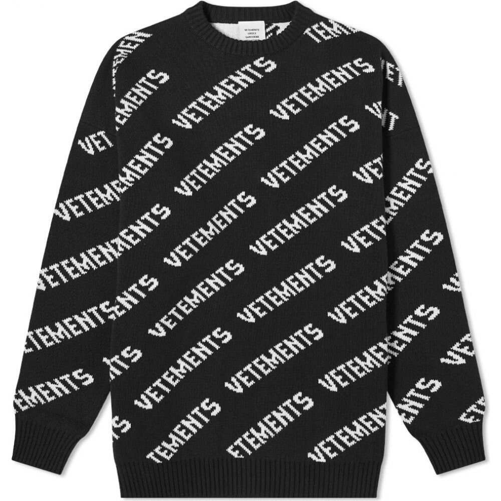 人気新品 ヴェトモン VETEMENTS メンズ ニット・セーター トップス【all over logo knitted jumper】Black/White, サイタチョウ e663a561