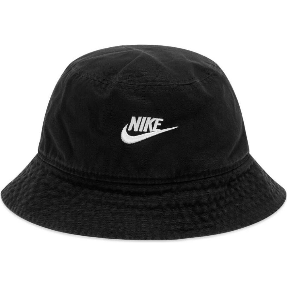 ナイキ メンズ 帽子 ハット Black White Nike サイズ交換無料 好評受付中 バケットハット hat washed bucket 売却