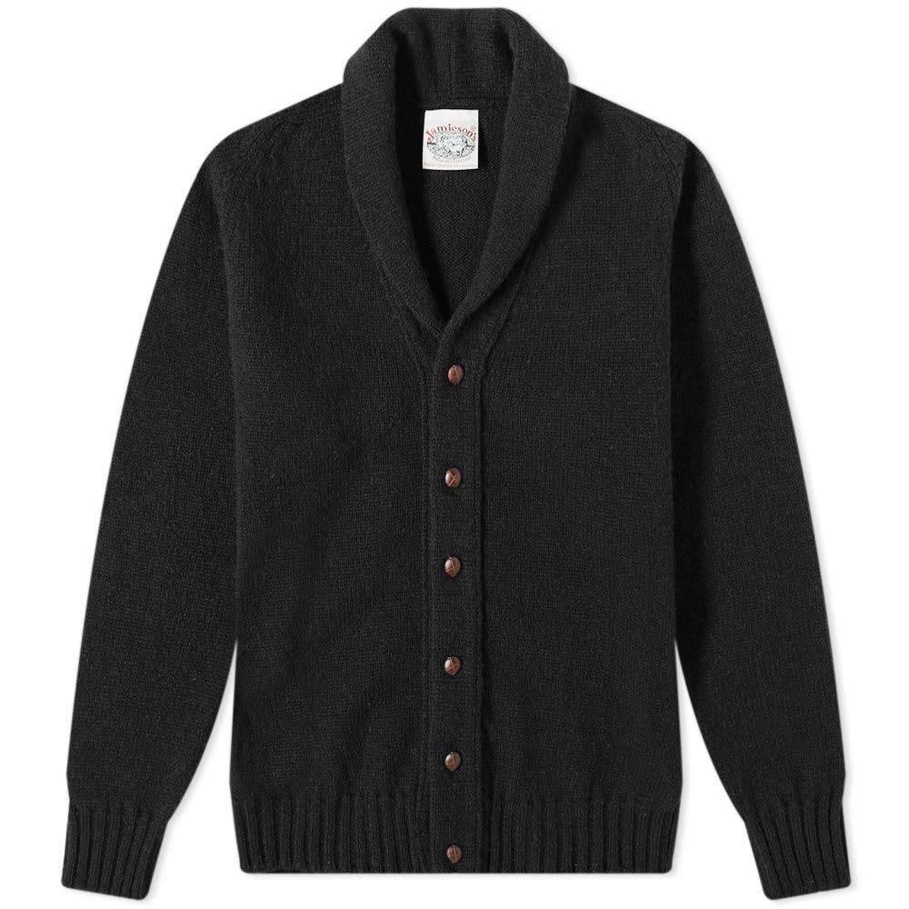 ジャミーソンズオブシェトランド Jamiesons of Shetland メンズ カーディガン トップス【jamieson's of shetland elbow patch shawl collar cardigan】Black