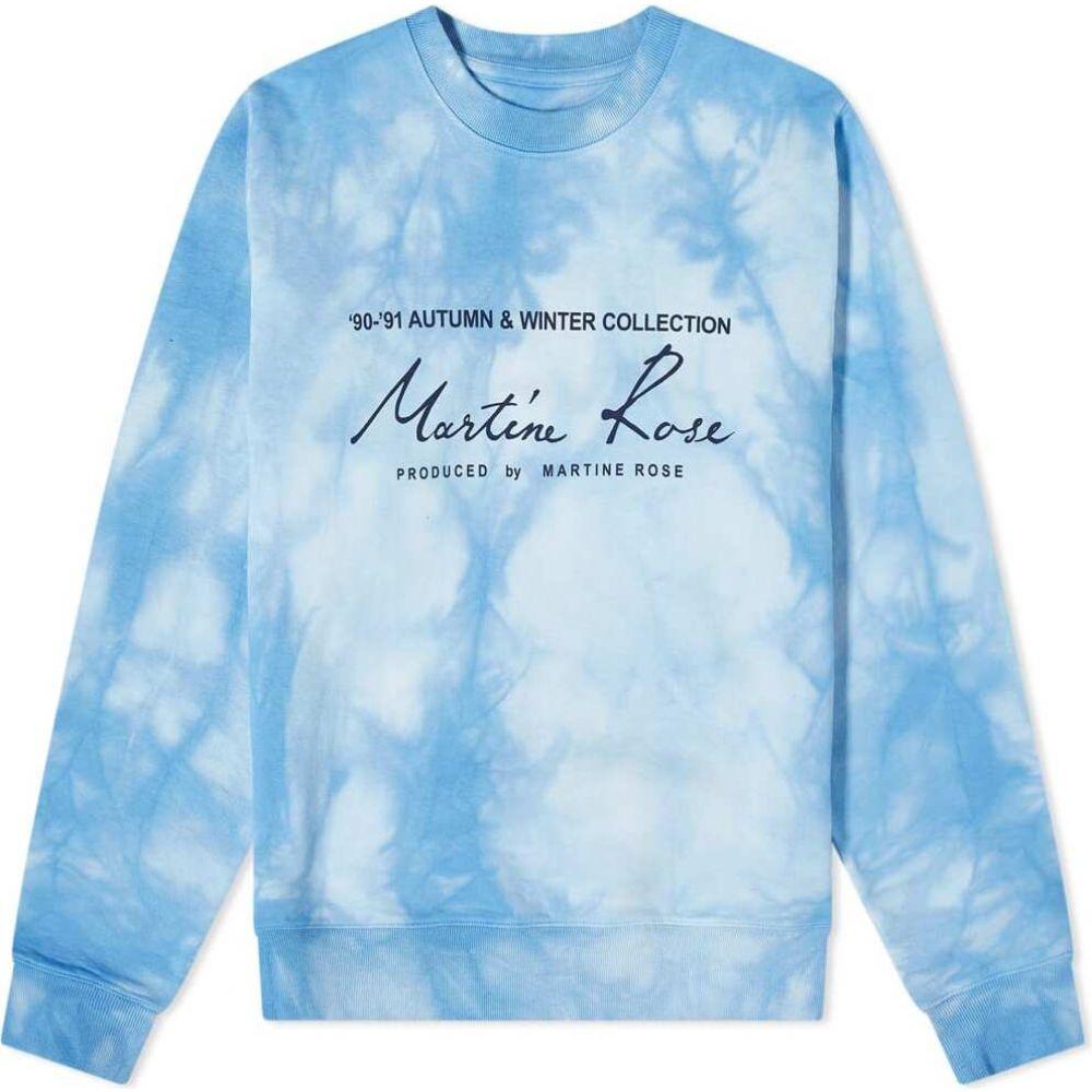 【レビューで送料無料】 マーティン ローズ Martine Rose メンズ スウェット・トレーナー トップス【Tie Dye Logo Crew Sweat】Light Blue, Medayful メデル 1b03688a