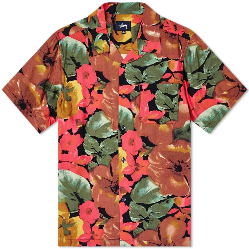 ステューシー Stussy メンズ 半袖シャツ トップス【watercolour flower shirt】Black