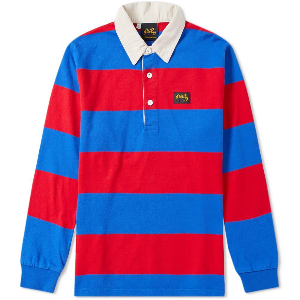 スタンレー Stan Ray メンズ トップス ポロシャツ【Striped Rugby Shirt】Navy/Red