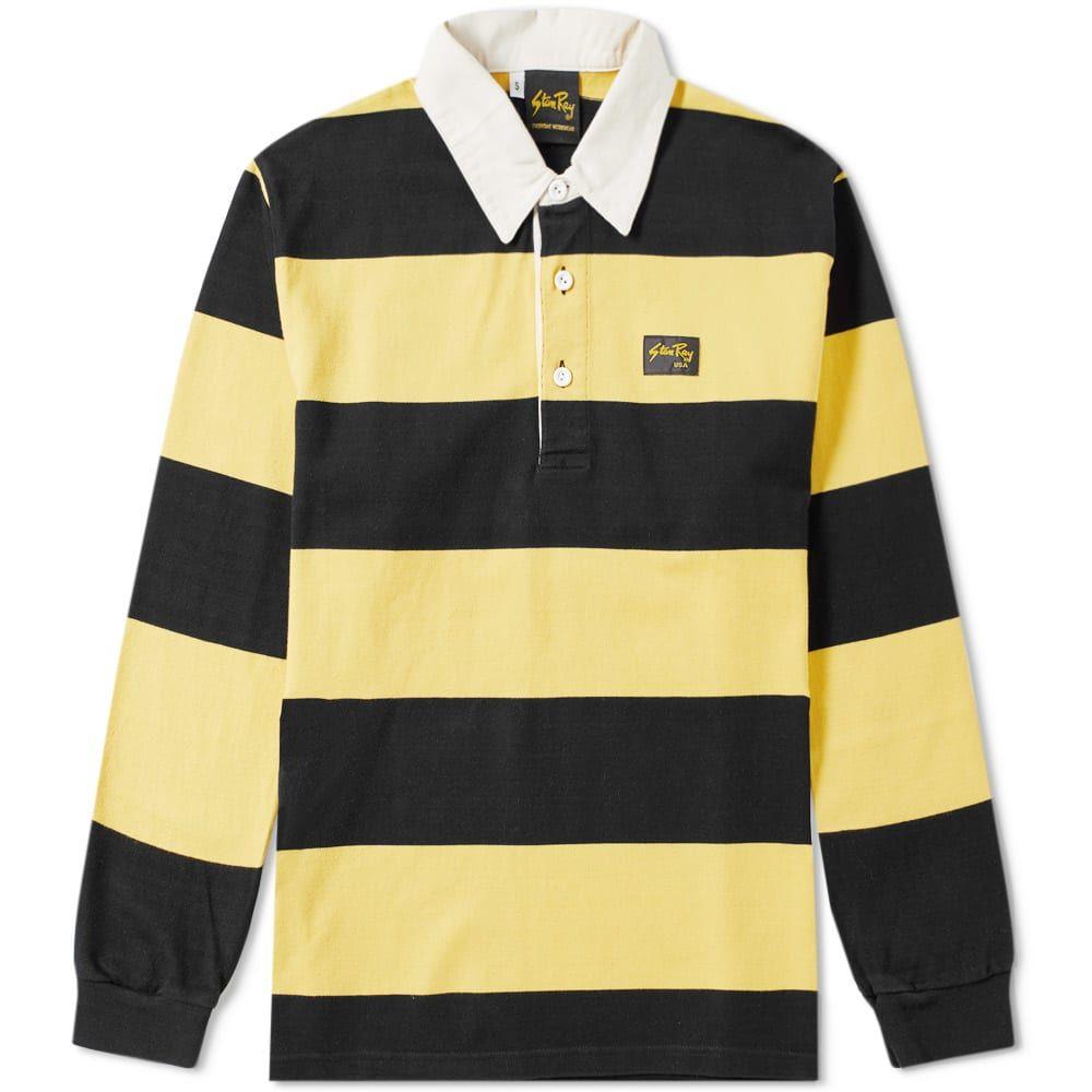 スタンレー Stan Ray メンズ トップス ポロシャツ【Striped Rugby Shirt】Black/Yellow