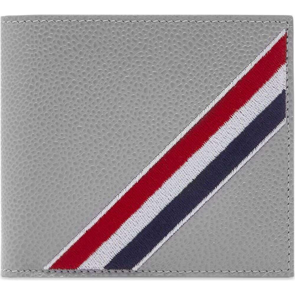 トム ブラウン Thom Browne メンズ 財布 トリコロール 二つ折り【Tricolour Stripe Billfold Wallet】Light Grey