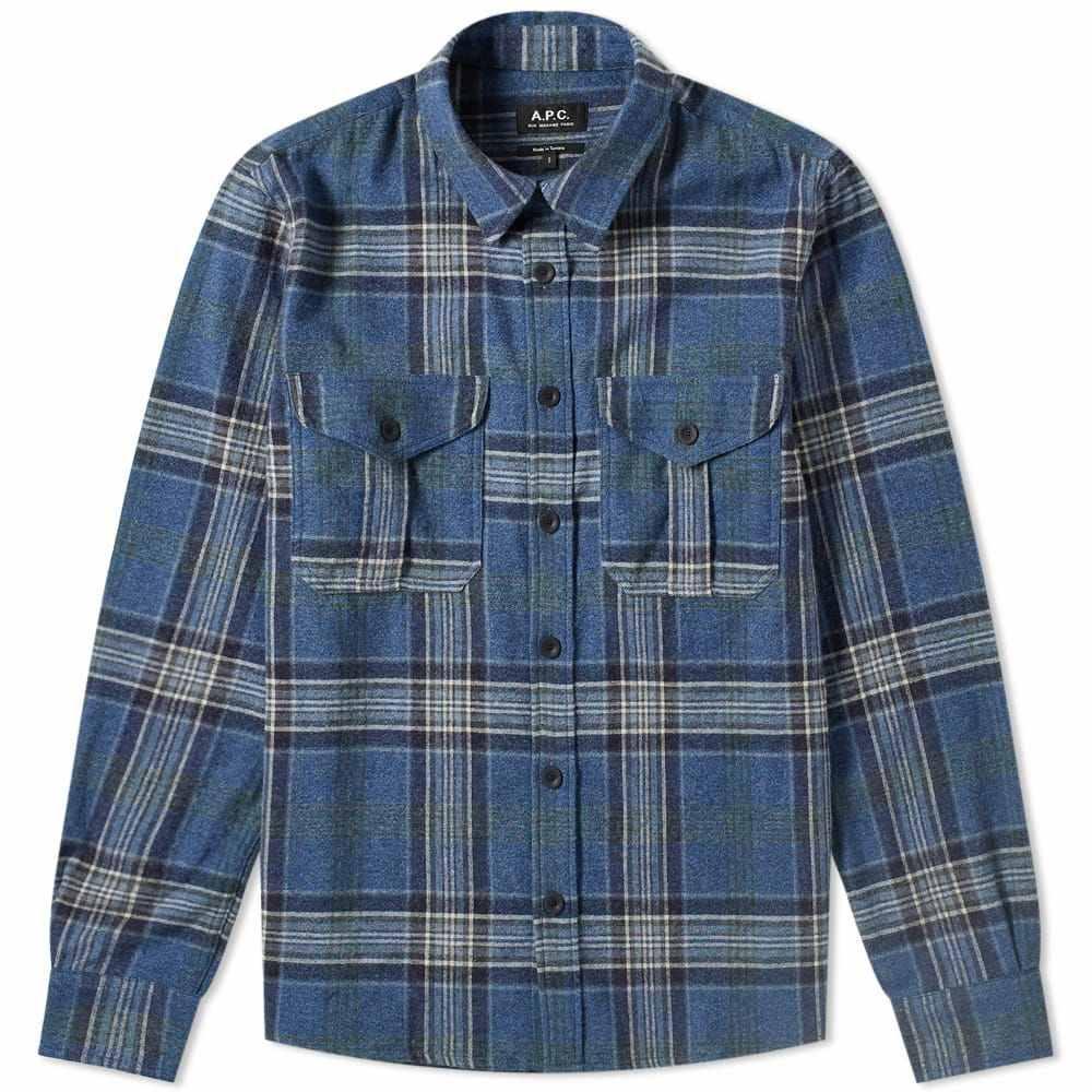 アーペーセー A.P.C. メンズ ジャケット オーバーシャツ アウター【breton check overshirt】Marine Chine
