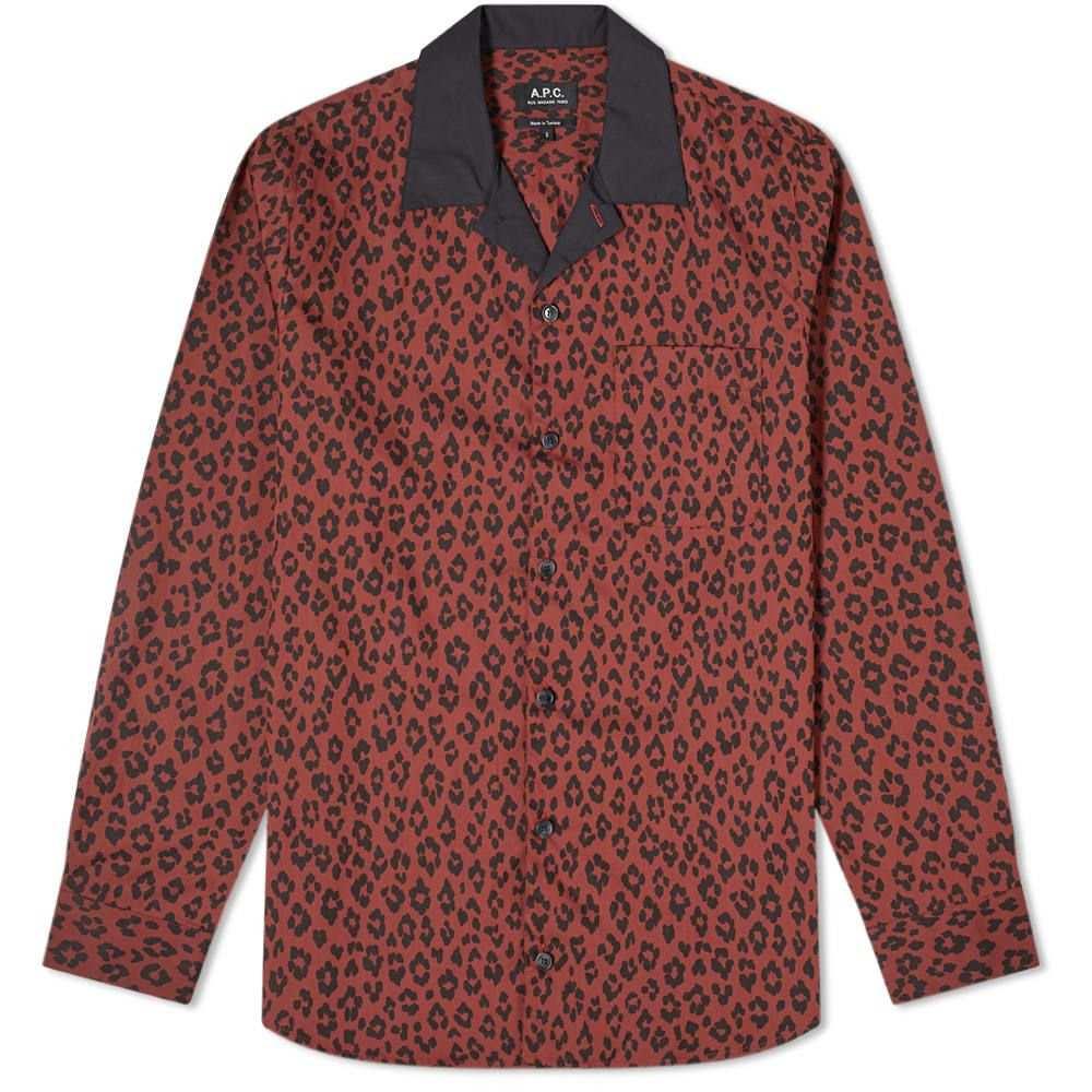 アーペーセー A.P.C. メンズ シャツ トップス【arid leopard print shirt】Maroon