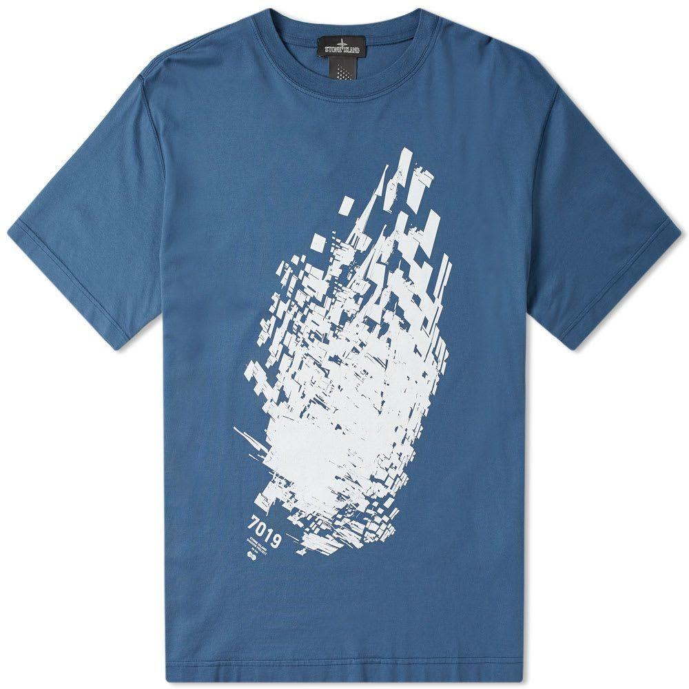 ストーンアイランド Stone Island Shadow Project メンズ Tシャツ トップス【7019 print tee】Navy