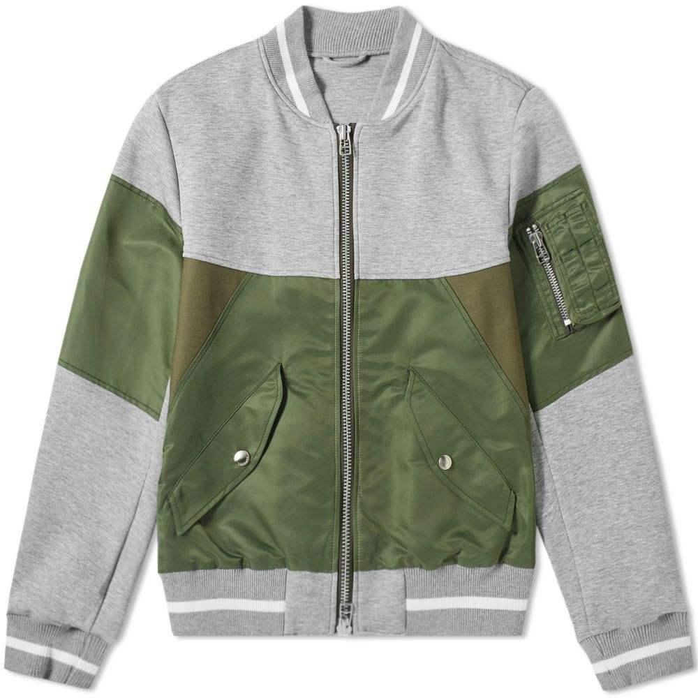 ソフネット SOPHNET. メンズ ブルゾン ミリタリージャケット アウター【fabric mix bomber jacket】Khaki