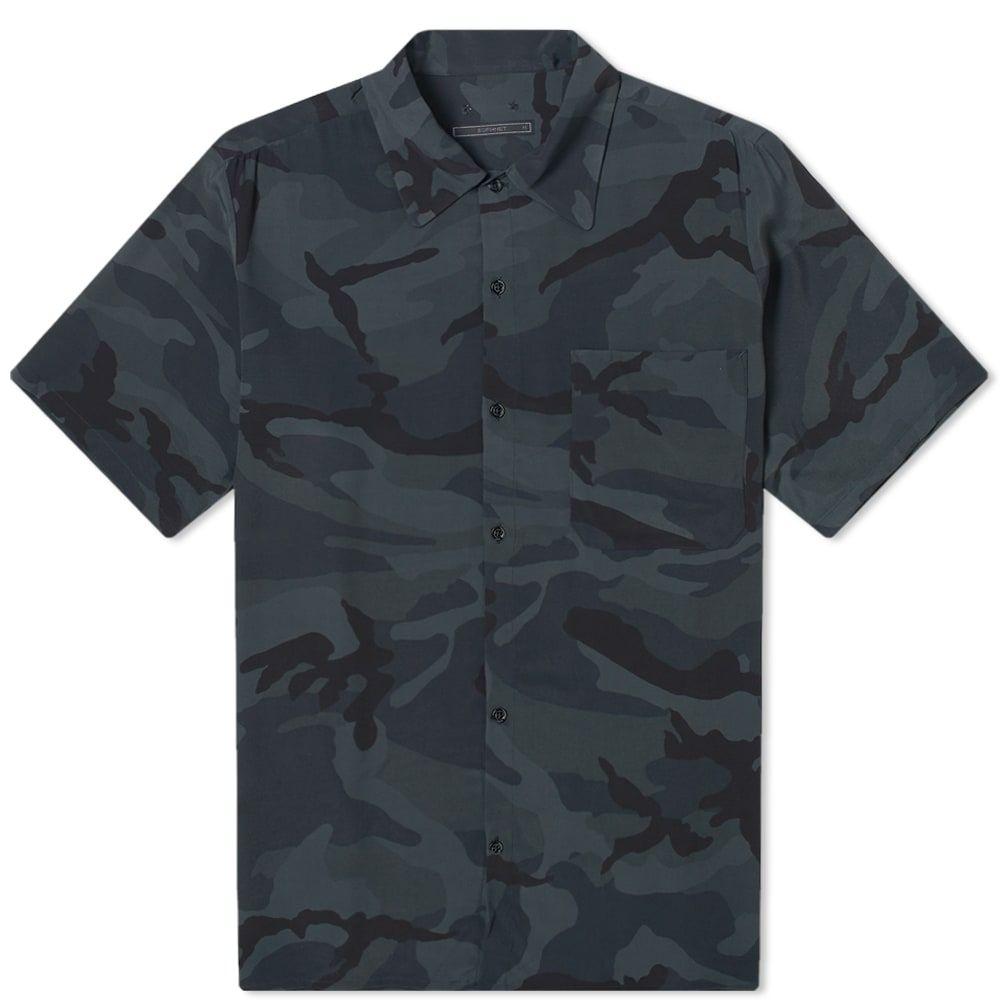 ソフネット SOPHNET. メンズ 半袖シャツ トップス【camoflage rayon wide box shirt】Black