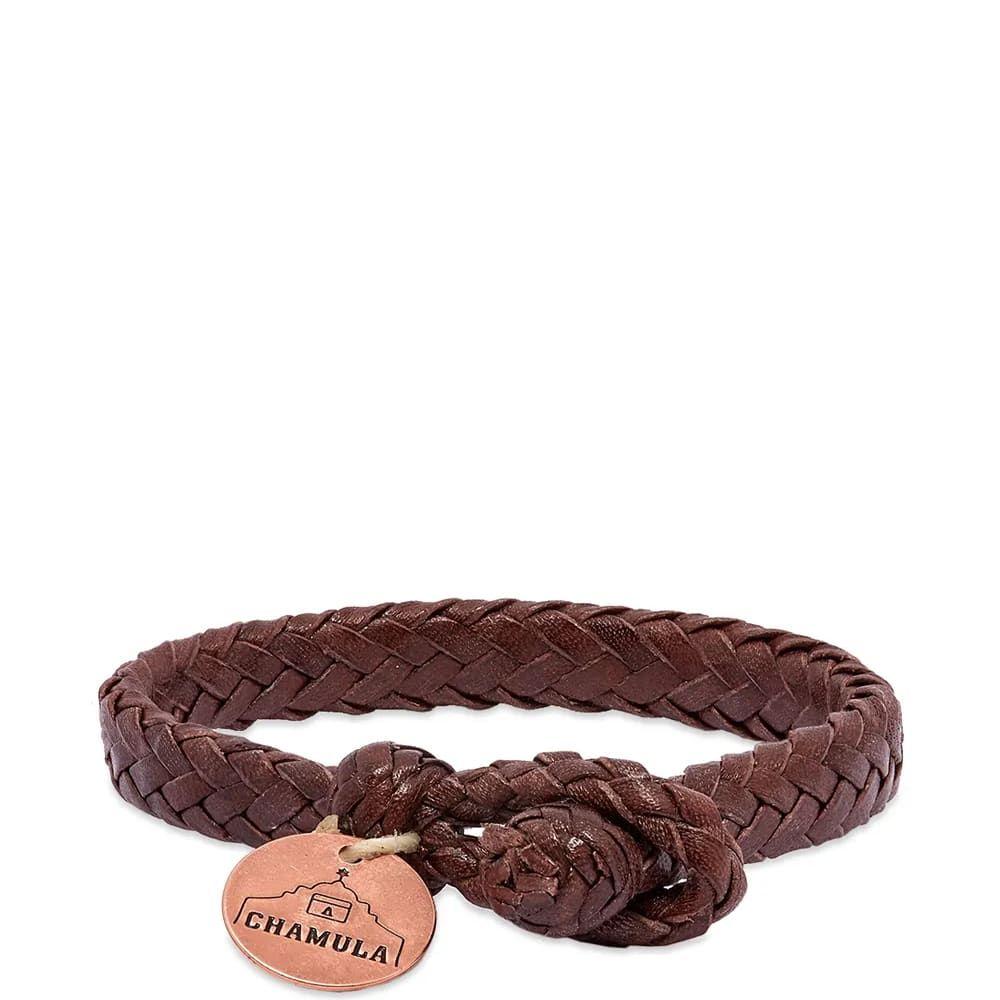 チャムラ Chamula メンズ ジュエリー・アクセサリー ブレスレット【Wide Flat Woven Bracelet】Brown Leather