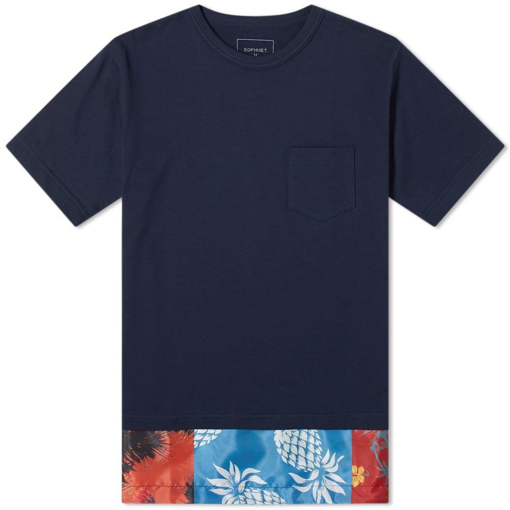 ソフネット SOPHNET. メンズ Tシャツ ポケット トップス【fake layered pocket tee】Navy