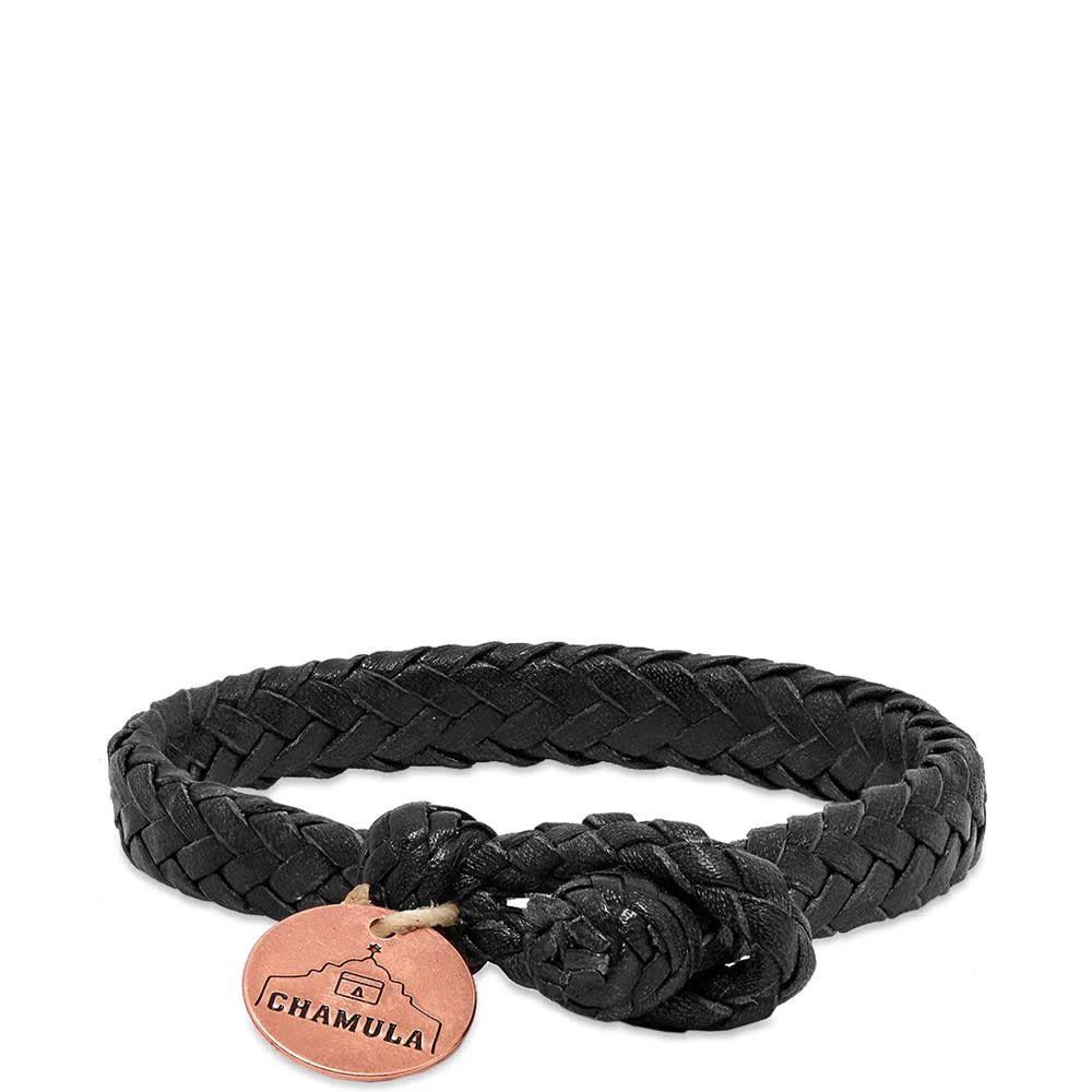 チャムラ Chamula メンズ ジュエリー・アクセサリー ブレスレット【Wide Flat Woven Bracelet】Black Leather