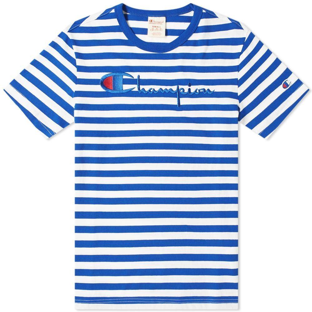 チャンピオン Champion Reverse Weave メンズ Tシャツ ロゴTシャツ トップス【stripe script logo tee】Blue/White