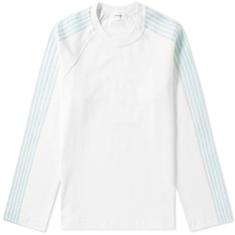 ディマ レウ DIMA LEU メンズ 長袖Tシャツ ラグラン トップス【long sleeve jersey raglan stripe tee】White/Pale Turquoise