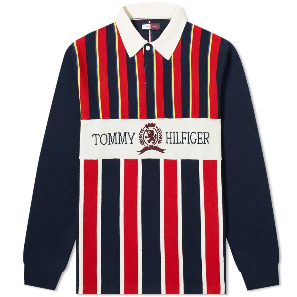 トミー ジーンズ Tommy Jeans メンズ ポロシャツ トップス【crest rugby shirt】Haute Red/Dark Navy/Multi