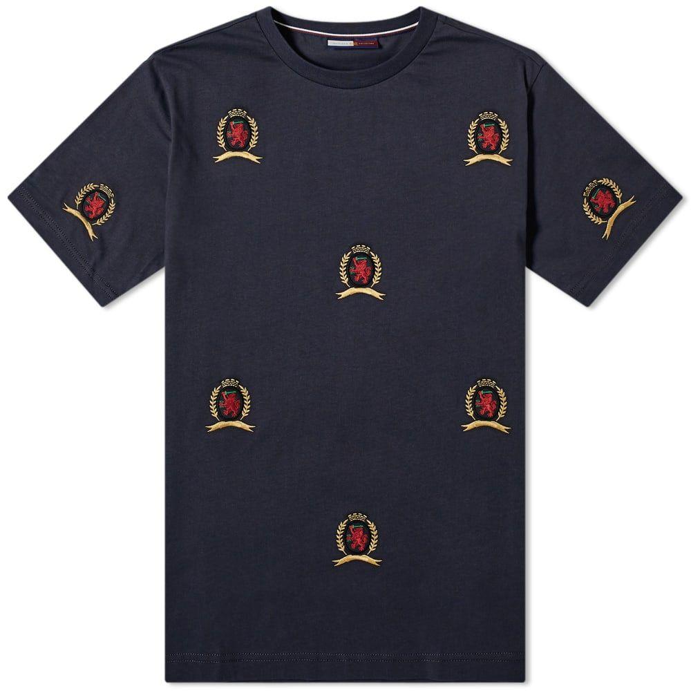 トミー ジーンズ Tommy Jeans メンズ Tシャツ トップス【all over crest tee】Dark Navy