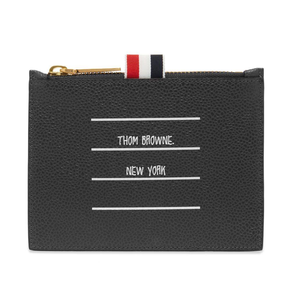 トム ブラウン Thom Browne メンズ 財布 【label print pebble grain zip wallet】Charcoal