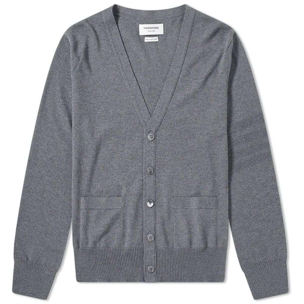 トム ブラウン Thom Browne メンズ カーディガン トップス【merino tonal four bar cardigan】Medium Grey