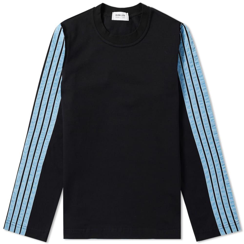 ディマ レウ DIMA LEU メンズ 長袖Tシャツ トップス【long sleeve stripe jersey tee】Black/Pale Blue