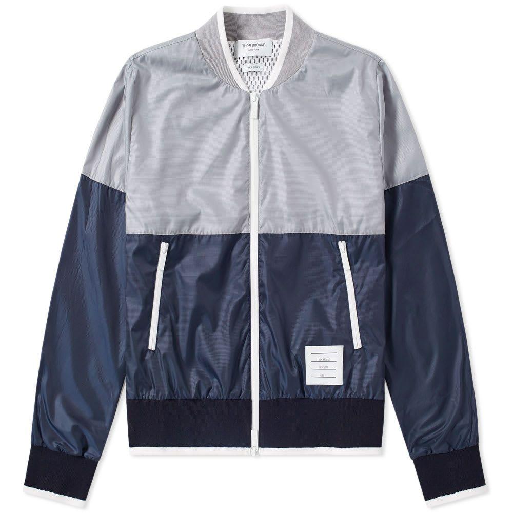 トム ブラウン Thom Browne メンズ ブルゾン ミリタリージャケット アウター【bi-colour bomber jacket】Grey/White/Navy