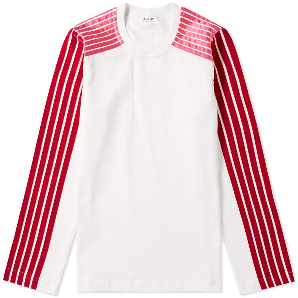 ディマ レウ DIMA LEU メンズ 長袖Tシャツ ラグラン トップス【long sleeve jersey raglan stripe tee】White/Red/Pink