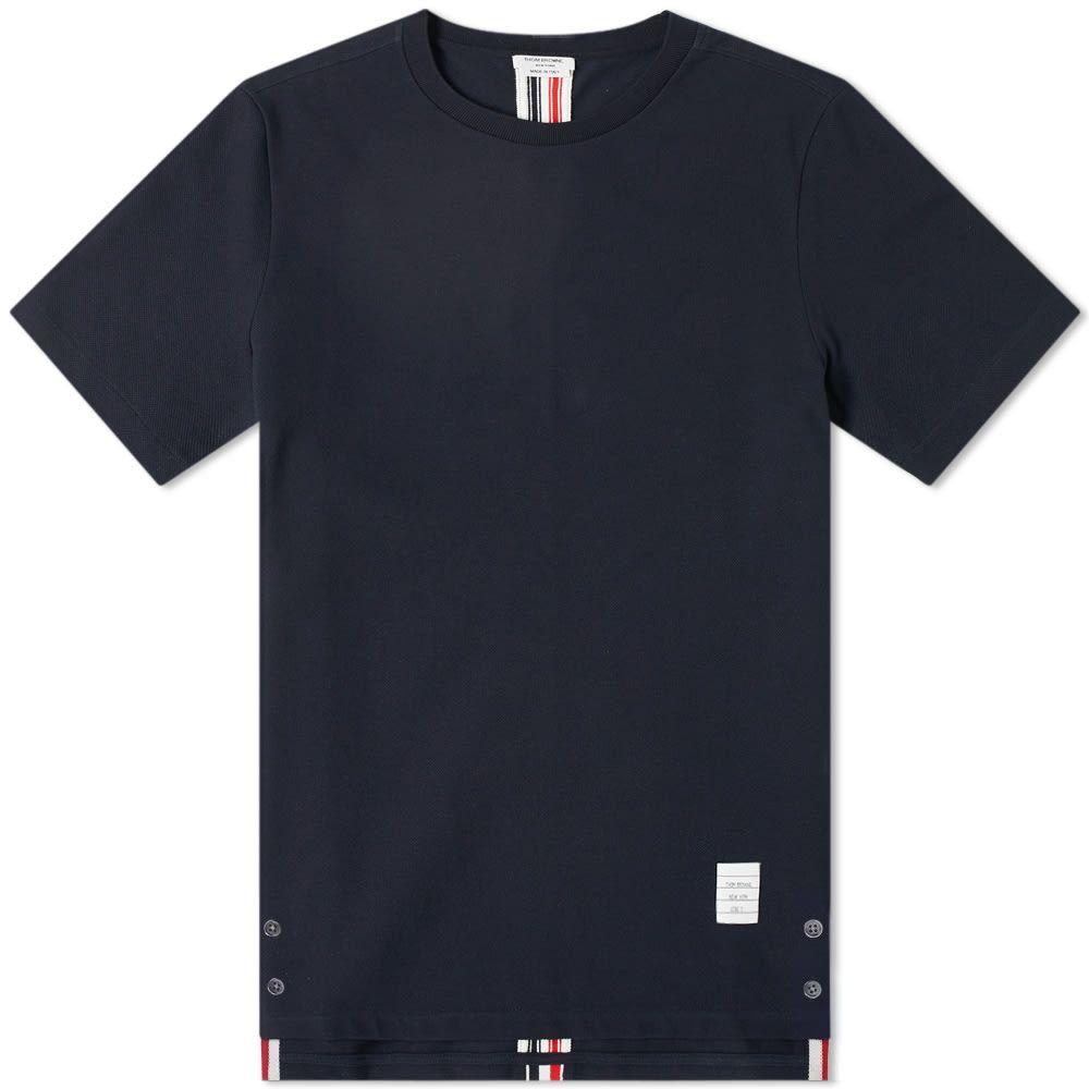 トム ブラウン Thom Browne メンズ Tシャツ トップス【back stripe pique tee】Navy