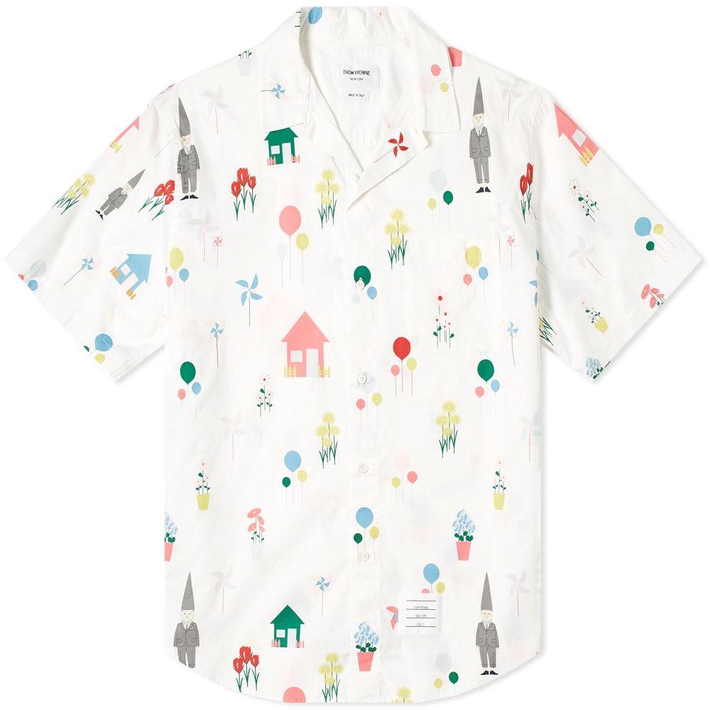 トム ブラウン Thom Browne メンズ 半袖シャツ トップス【all over gnome print vacation shirt】White