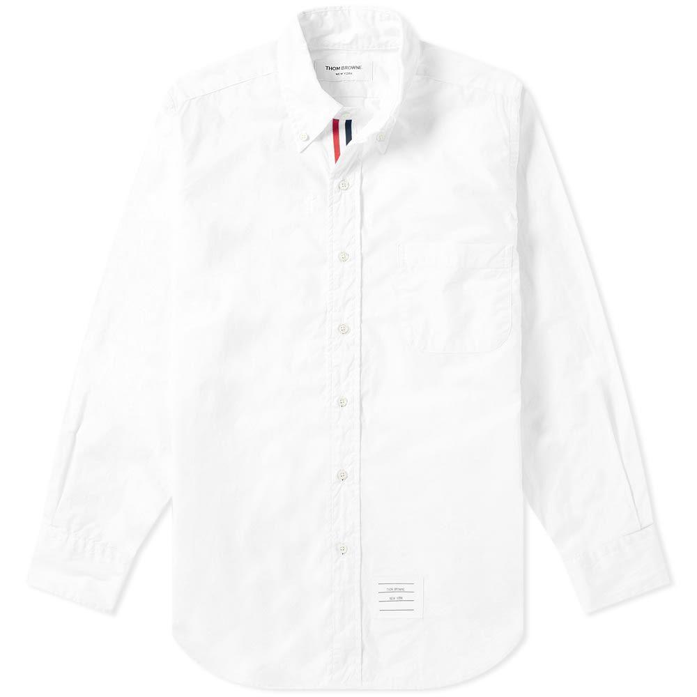 トム ブラウン Thom Browne メンズ シャツ トップス【grosgrain placket solid poplin shirt】White