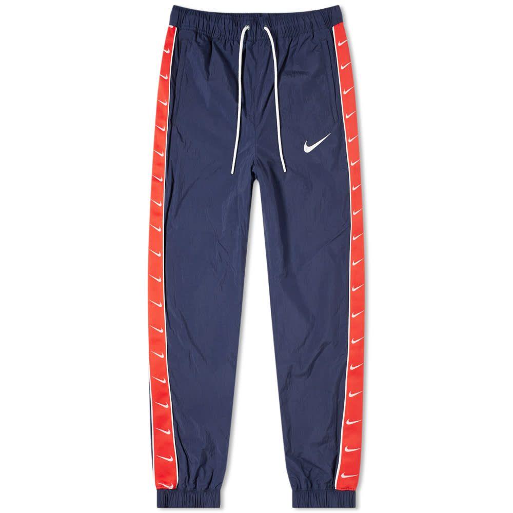 ナイキ Nike メンズ スウェット・ジャージ ボトムス・パンツ【taped swoosh woven pant】Obsidian/University Red
