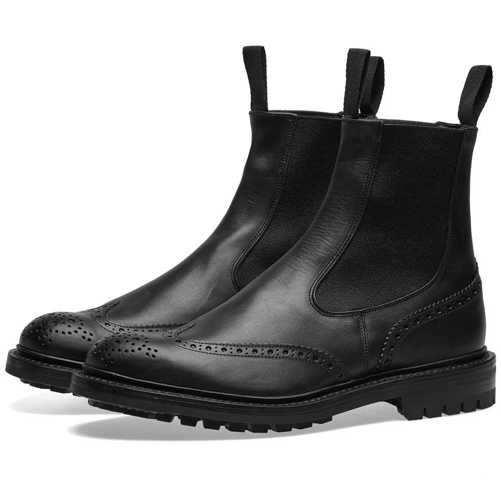 トリッカーズ Trickers メンズ シューズ・靴 ブーツ【Tricker's Henry Brogue Chelsea Boot】Oily Black Olivvia