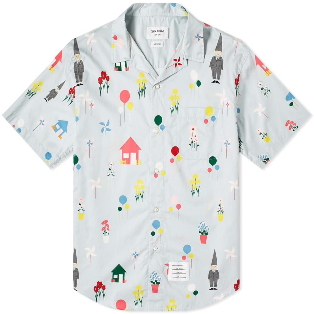 トム ブラウン Thom Browne メンズ 半袖シャツ トップス【all over gnome print vacation shirt】Light Blue