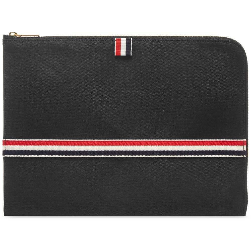 トム ブラウン Thom Browne メンズ ビジネスバッグ・ブリーフケース バッグ【large grosgrain stripe document holder】Black Pebble Grain