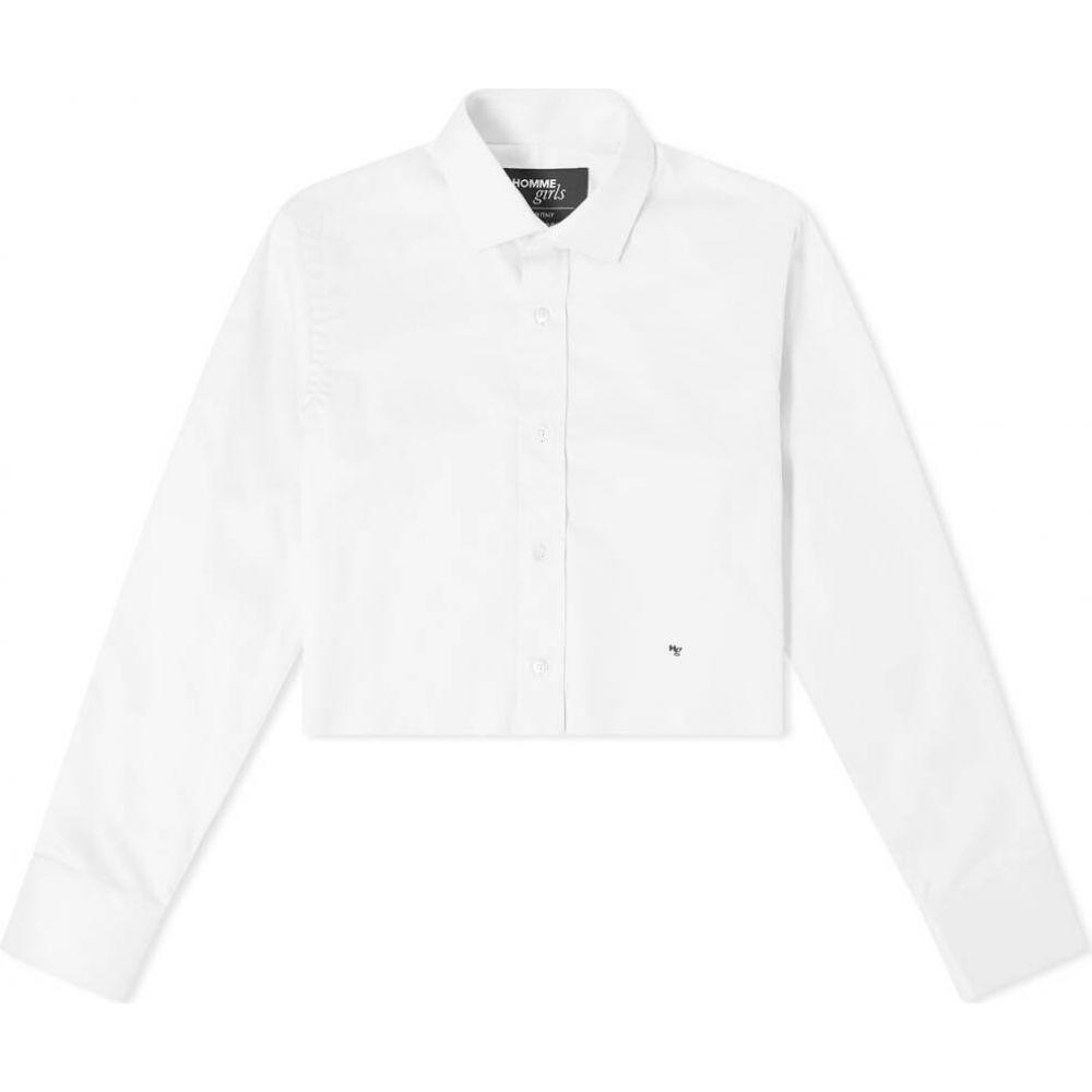 オムガールズ レディース トップス ベアトップ チューブトップ クロップド White Up Shirt Button Cropped 新作 激安価格と即納で通信販売 Hommegirls サイズ交換無料
