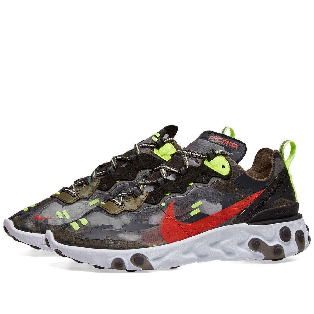 ナイキ Nike メンズ スニーカー シューズ・靴【react element 87】Olive/Crimson/Black/Volt