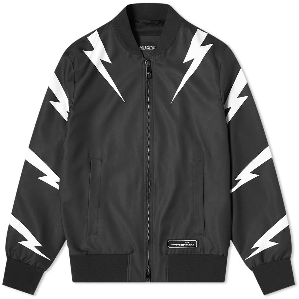 ニール バレット Neil Barrett メンズ ブルゾン ミリタリージャケット アウター【tiger bolt satin bomber jacket】Black/White