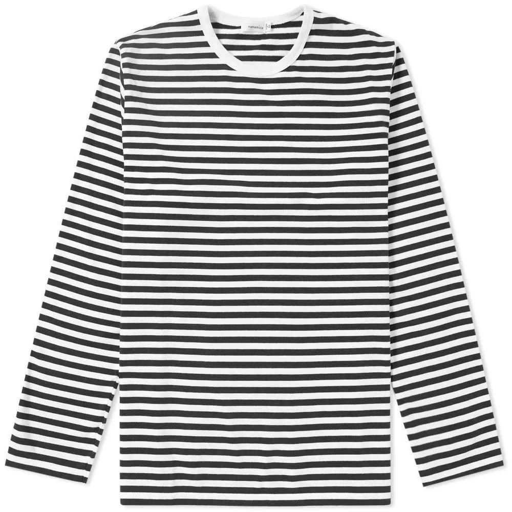 ナナミカ Nanamica メンズ 長袖Tシャツ トップス【long sleeve coolmax stripe tee】Black/White